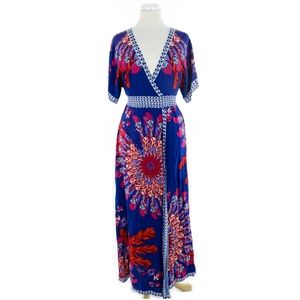 Flying Tomato Bohemian Floral Maxi Wrap Dress Blue